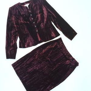 Yves Saint Laurent Vintage Burgundy Velvet Jacket with Matching Skirt